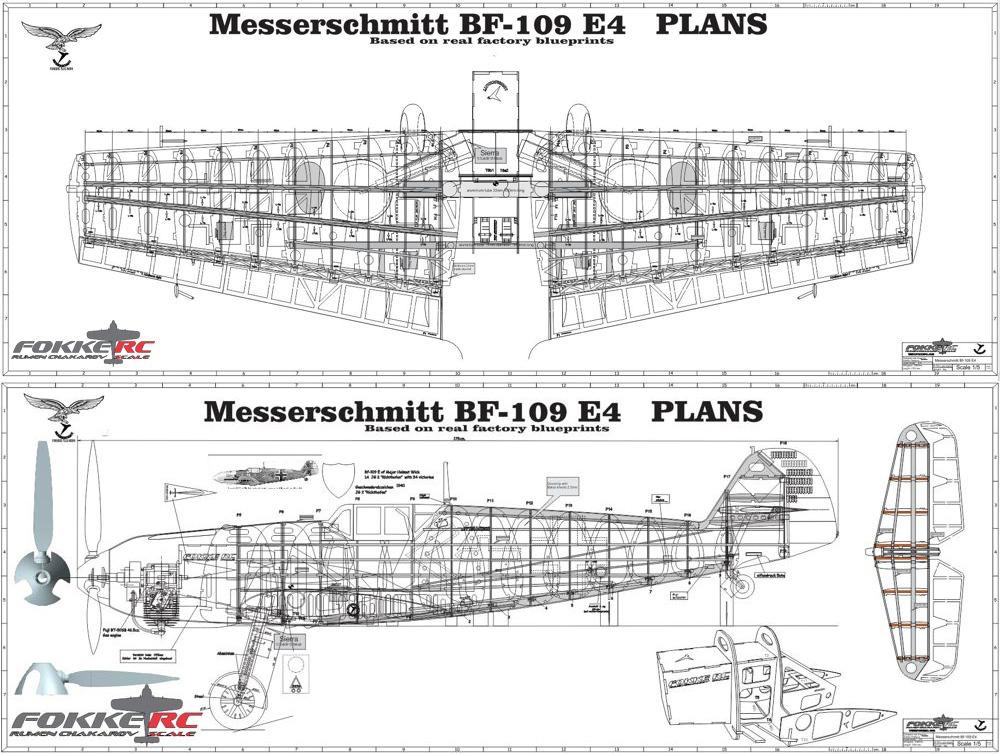 Messerschmitt bf 109 e4 1 4 scale model wooden kit fokkerc for Plan me