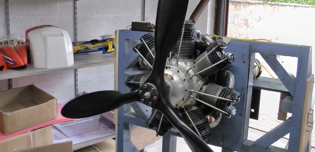 Engine test Valach 800cc for FW 190 A8 1/2 scale
