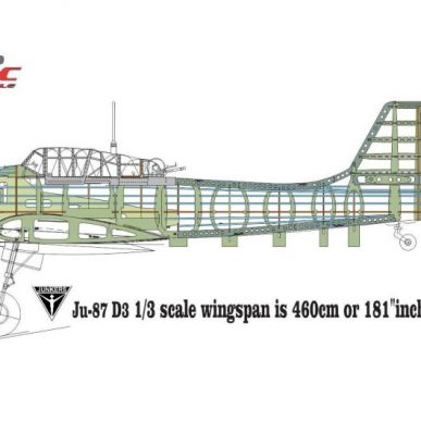 "Ju-87 <span class=""focuspoint2"">D3-5 </span>Stuka 1/3 Scale Model Wooden Kit"