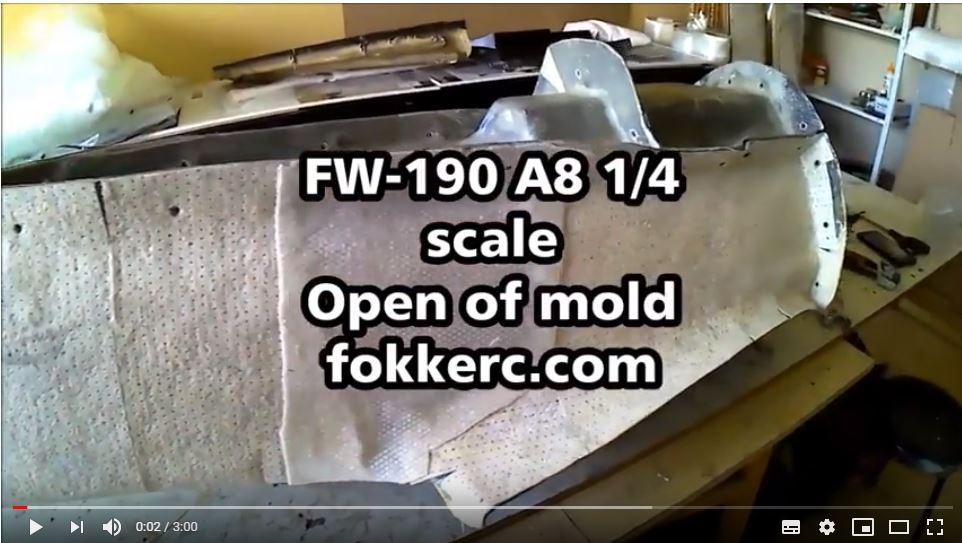 Open the mold FW 190 A8 1/4 composite fuselage
