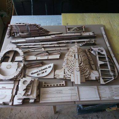 """Messerschmitt BF-109 <span class=""""focuspoint2"""">F</span> 1/4 Scale Model Wooden Kit"""